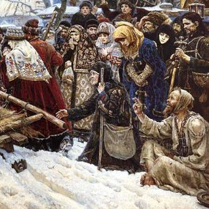 La toile de Vassili Sourikov La Boyarine Morozova représente le moment culminant de la persécution des vieux-croyants: la boyarine est incarcérée pour ses convictions