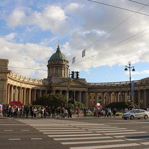 Cathédrale de Kazan et Perspective Nevsky de Saint-Pétersbourg