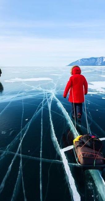 Traversée sur la glace du Baikal